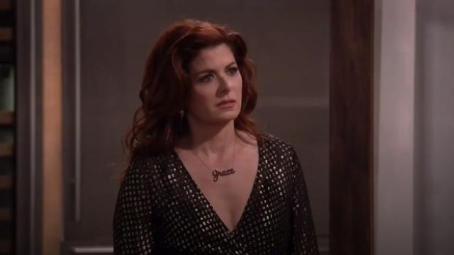 RED Valentino Embroidered Lame Long Dress outfit worn by Grace Adler (Debra Messing) in Will & Grace (S02E15) - TV Show Outfits and Products