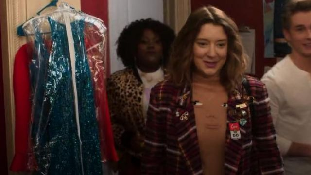 Rachel antonoff gold hysterical female pin outfit worn by Nonnie Thompson (Kimmy Shields) in Insatiable Season 02 Episode 01 - TV Show Outfits and Products
