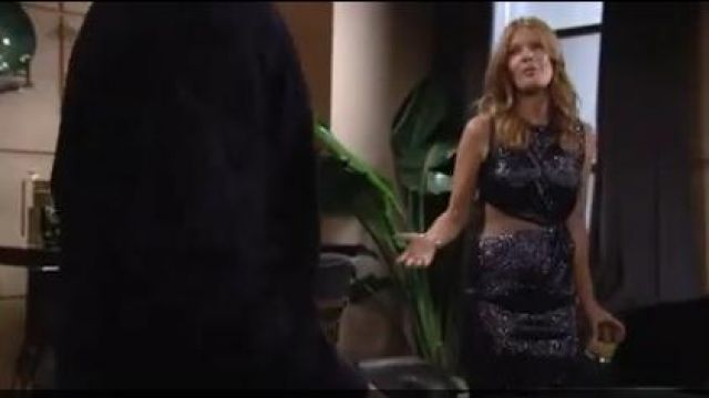 Rachel zoe lorraine fluid sequin cutout midi dress outfit worn by Phyllis Summers (Michelle Stafford) as seen on The Young and the Restless October 10, 2019 - TV Show Outfits and Products