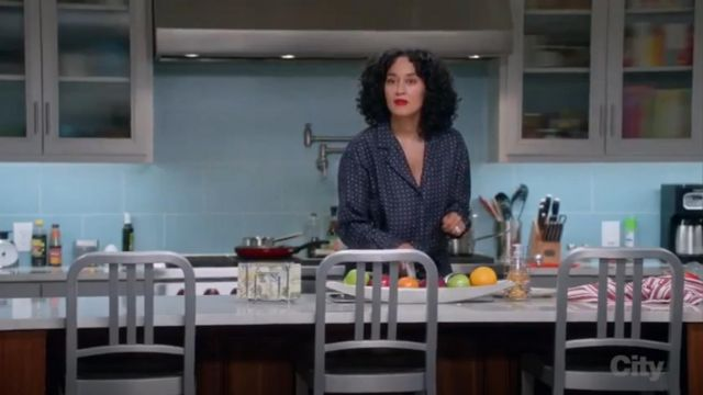 Rag & Bone Arthur Print Silk Jumpsuit outfit worn by Rainbow Johnson (Tracee Ellis Ross) in black-ish (Season 02 Episode 14) - TV Show Outfits and Products