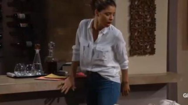 Rag & Bone High-Rise Slim-Fit Cigarette Jeans outfit worn by Brytni Sarpy as seen in The Young and the Restless June 17,2019 - TV Show Outfits and Products