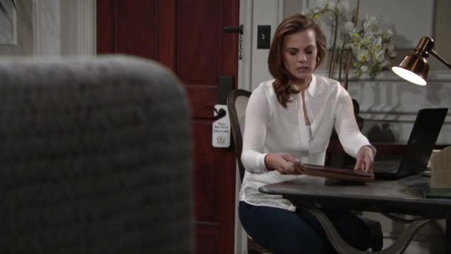 Rag & Bone Luna Stretch Cotton Mesh Shirt outfit worn by Gina Tognoni as seen in The Young and the Restless May 2019 - TV Show Outfits and Products