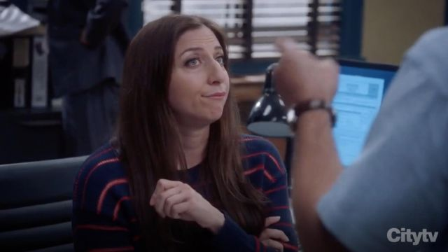 Fashion Trends 2021: Rag & Bone Penn Cropped Sweater with Sheer Stripe Detail outfit seen on Gina Linetti (Chelsea Peretti) in Brooklyn Nine-Nine S06E01