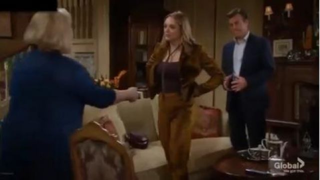 Rag & Bone Poppy velvet pants outfit worn by Summer Newman (Hunter King) in The Young and the Restless October 7, 2019 - TV Show Outfits and Products