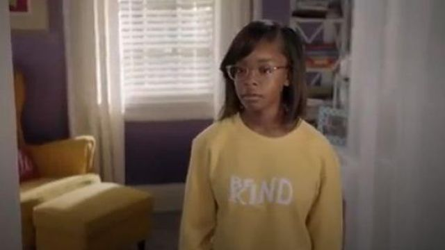 Rag & Bone Yellow Be Kind Sweatshirt outfit worn by Diane Johnson (Marsai Martin) in black-ish Season 06 Episode 07 - TV Show Outfits and Products