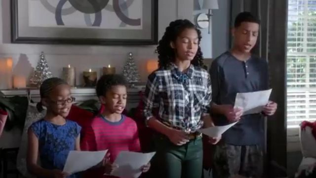 Rails Hunter Splatter Button Down outfit worn by Zoey Johnson (Yara Shahidi) in black-ish (Season 01 Episode 10) - TV Show Outfits and Products