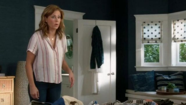 Fashion Trends 2021: Rails Zuma Metallic Striped Shirt outfit seen on Lena (Jenna Fischer) in Splitting Up Together (S02E10)