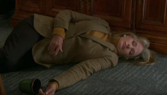 Ralph Lauren Suede-Trim Herringbone Blazer outfit worn by Marlena Evans (Deidre Hall) as seen in Days of Our Lives March 8, 2019 - TV Show Outfits and Products