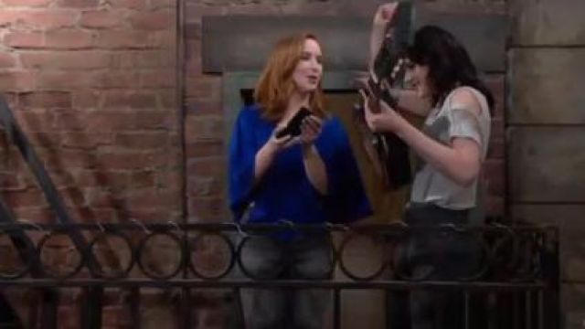 Ramy Brook Lizzy Top in Azure outfit worn by Camryn Grimes as seen in The Young and the Restless June 18,2019 - TV Show Outfits and Products