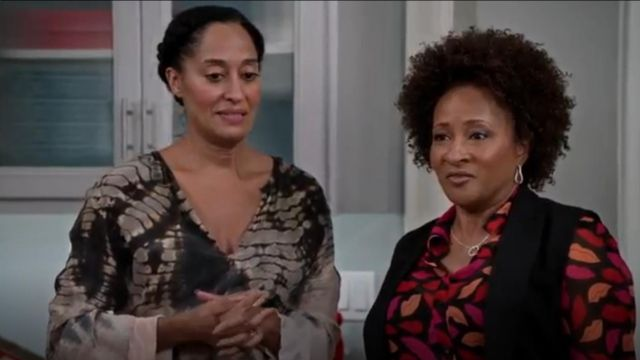 Raquel Allegra Tie Dyed Crinkled Silk Crepe Midi Dress outfit worn by Rainbow Johnson (Tracee Ellis Ross) in black-ish (S02E10) - TV Show Outfits and Products