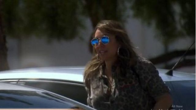 Ray Ban Blue Reflective Aviator Sunglasses outfit worn by Kelly Dodd in The Real Housewives of Orange County Season 14 Episode 10 - TV Show Outfits and Products
