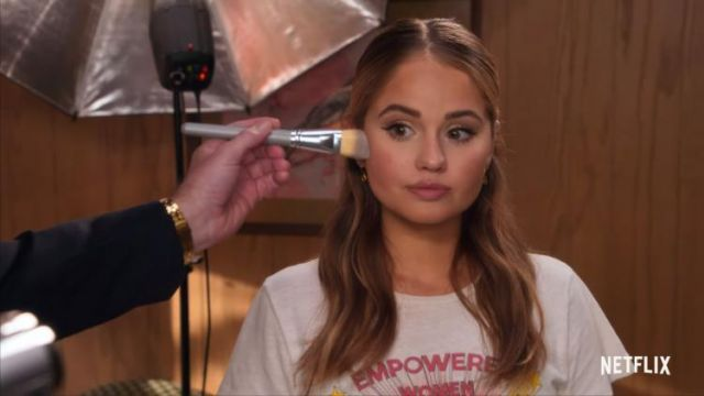 Re/Done white classic shine graphic t-shirt outfit worn by Patty Bladell (Debby Ryan) in Insatiable Season 2 Trailer - TV Show Outfits and Products