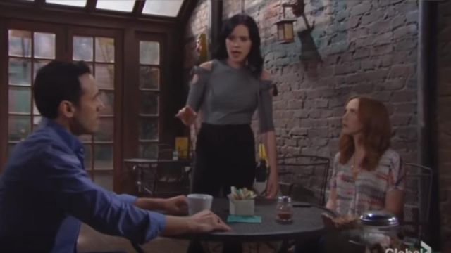 Rebecca Taylor Cold Shoulder Ribbed Jersey Top outfit worn by Tessa Porter (Cait Fairbanks) as seen in The Young and the Restless May 24, 2019 - TV Show Outfits and Products