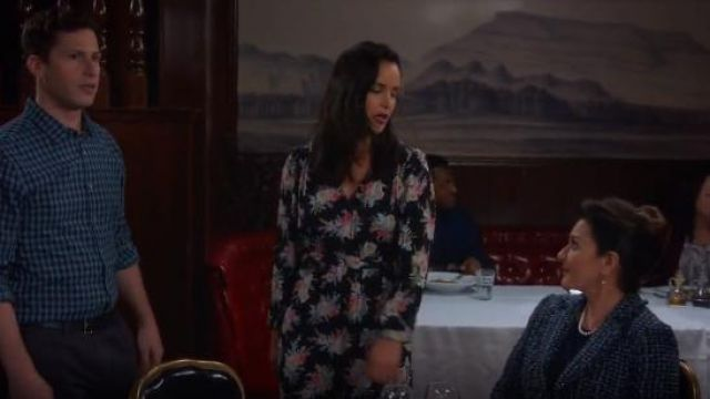 Rebecca Taylor Long-Sleeve Bouquet Silk Short Dress outfit seen on Amy Santiago (Melissa Fumero) in Brooklyn Nine-Nine (S06E09) - TV Show Outfits and Products