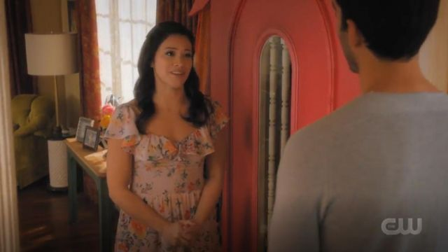 Rebecca Taylor Marlena Ruffle Silk Dress outfit worn by Jane Villanueva (Gina Rodriguez) in Jane the Virgin (S05E09) - TV Show Outfits and Products