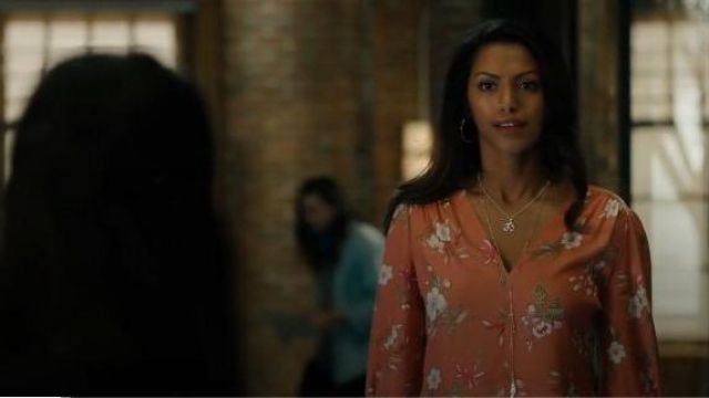 Rebecca Taylor Orange Floral Print Blouse outfit worn by Katrina (Shiva Kalaiselvan) in Charmed Season 02 Episode 05 - TV Show Outfits and Products
