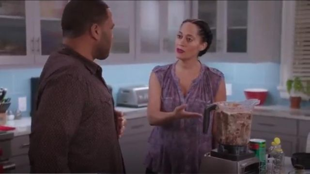 Rebecca Taylor Static Ruffle Hem Silk Sleeveless Top outfit worn by Rainbow Johnson (Tracee Ellis Ross) in black-ish (S02E09) - TV Show Outfits and Products