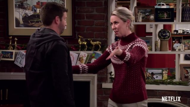 Red Christmas Sweater outfit worn by Patsy (Siobhan Murphy) in Merry Happy Whatever (S01) - TV Show Outfits and Products