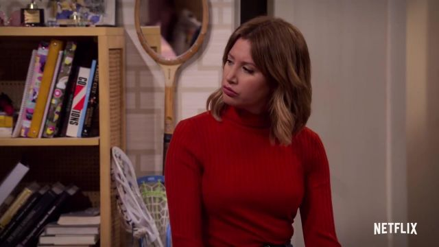 Red Turtleneck Knit Sweater outfit worn by Kayla (Ashley Tisdale) in Merry Happy Whatever (S01) - TV Show Outfits and Products