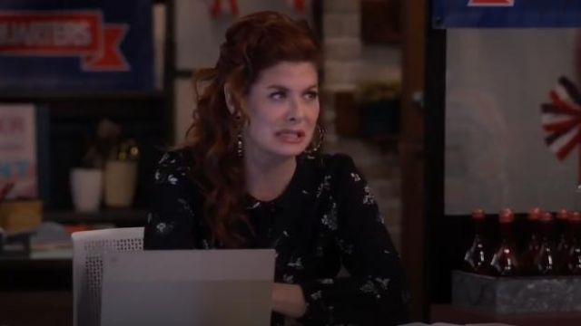 Red Valentino long-sleeved mini dress outfit worn by Grace Adler (Debra Messing) in Will & Grace (S02E13) - TV Show Outfits and Products