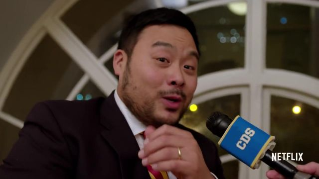Red & Yellow Striped tie outfit worn by David Chang in Ugly Delicious (Season 1) - TV Show Outfits and Products