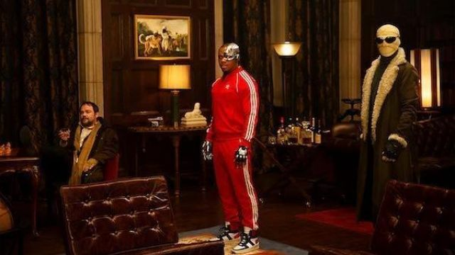 Red adidas sweatshirt outfit worn by Cyborg (Joivan Wade) in Doom Patrol S01E04 - TV Show Outfits and Products