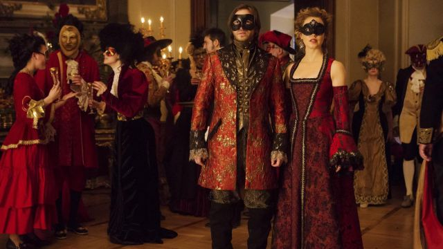 Red coat and gold-James Cole (Aaron Stanford) seen in 12 Monkeys Season 3 Episode 8 - TV Show Outfits and Products