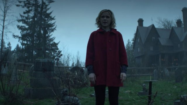 Red coat of Sabrina Spellman (Kiernan Shipka) seen in The New Adventures of Sabrina Season 1 Episode 1 - TV Show Outfits and Products