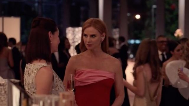 Red dress and pink Oscar de la Renta, Donna Paulsen (Sarah Rafferty) seen in Suits : Lawyers-to-Measure Season 8 Episode 6 - TV Show Outfits and Products