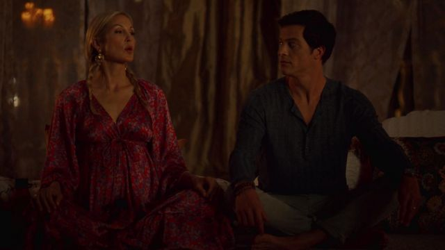 Red dress pink Fig, outfit worn by Melissa Daniels (Kelly Rutherford) seen in Dynasty Season 2 Episode 2 - TV Show Outfits and Products