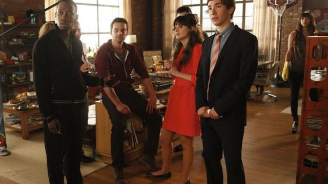 Fashion Trends 2021: Red dress with peter pan collar of Jess (Zooey Deschanel) seen in New Girl