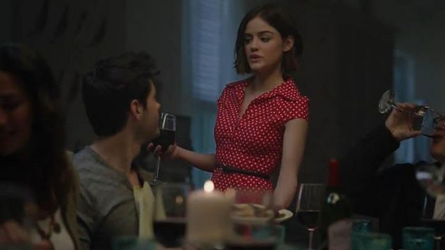 Fashion Trends 2021: Red dress with white polka dots Modcloth Hepcat Soda Fountain of Stella Abbott (Lucy Hale) Life Sentence Season 1 Episode 1