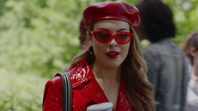 Red goggles outfit worn by Fallon Carrington (Elizabeth Gillies) seen in Dynasty Season 2 Episode 2