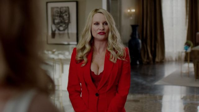 Red jacket ceintrée Alexander McQueen outfit worn by Alexis Carrington (Nicollette Sheridan) seen in Dynasty (Season 2 Episode 3) - TV Show Outfits and Products