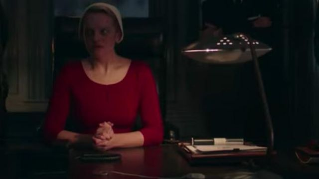 Red long sleeve shirt outfit worn by June Osborne (Elisabeth Moss) in The Handmaid's Tale (S03E05) - TV Show Outfits and Products