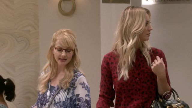 Red shirt Equipment outfit worn by Penny (Kaley Cuoco) seen in The Big Bang Theory S12 Episode 4 - TV Show Outfits and Products