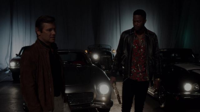 Red shirt with flowers Just Cavalli outfit worn by Jeff Colby (Sam Adegoke) seen in Dynasty Season 2 Episode 2 - TV Show Outfits and Products