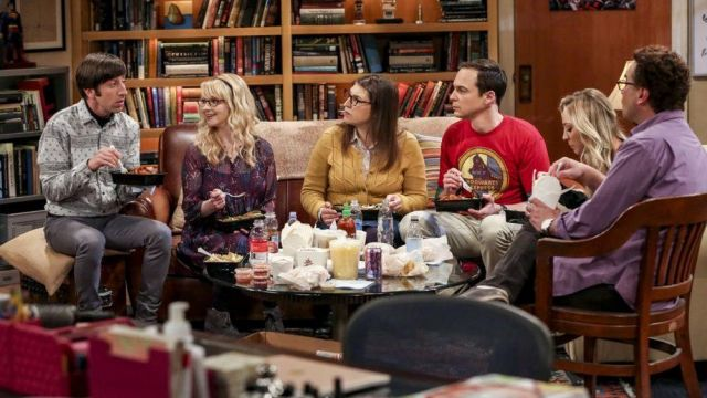 """Red t-shirt Hogwarts Express Sheldon Cooper (Jim Parsons) seen in The Big Bang Theory """" (S12 Episode 3) - TV Show Outfits and Products"""