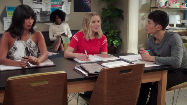 Red t-shirt of Eleanor Shellstrop (Kristen Bell) seen in The Good Place (Season 3 Episode 3) - TV Show Outfits and Products