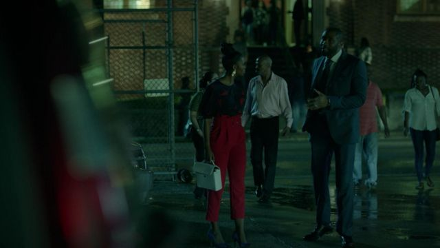Red trousers Topshop from Anissa Pierce (Nafessa Williams) seen in Black Lightning Season 2 Episode 1