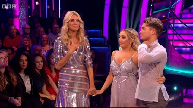 Rixo Silver and Gold Striped Sequin Vneck Wrap Dress outfit worn by Tess Daly in Strictly Come Dancing Season07 - TV Show Outfits and Products