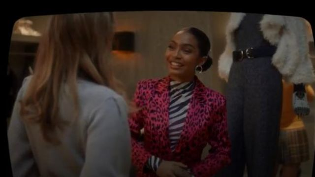 Robert Rodriguez Leopard Blazer outfit worn by Zoey Johnson (Yara Shahidi) in grown-ish (Season 02 Episode 14) - TV Show Outfits and Products