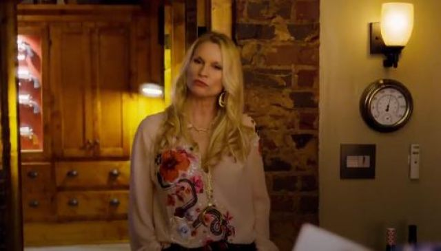 Roberto Cavalli Embroidered floral top outfit seen on Alexis Carrington (Nicollette Sheridan) in Dynasty (S01E19) - TV Show Outfits and Products