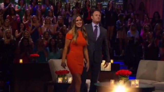 Roberto Cavalli Pumpkin Ribbed Knit Dress outfit worn by JoJo Fletcher in The Bachelorette (S12E10) - TV Show Outfits and Products