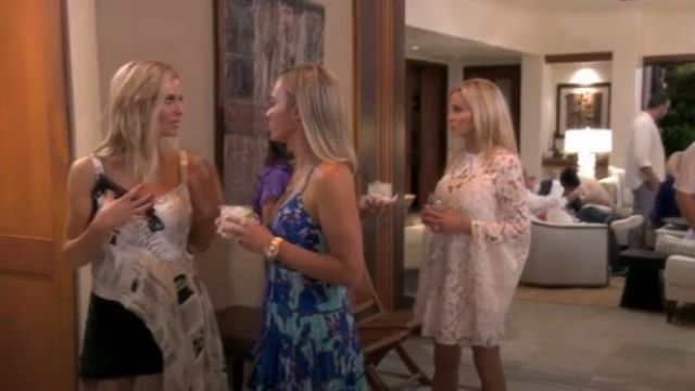 Rococo Sand Folium Dress outfit worn by Teddi Mellencamp Arroyave in The Real Housewives of Beverly Hills(S09E15) - TV Show Outfits and Products