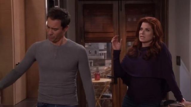 Roland Mouret Bagnet Cowl-Neck Long-Sleeve Top outfit worn by Grace Adler (Debra Messing) in Will & Grace (S01E16) - TV Show Outfits and Products