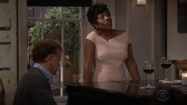 Fashion Trends 2021: Roland Mouret Elmswell crepe pink top outfit seen on Rose (Sheryl Lee Ralph) in Fam S01E01