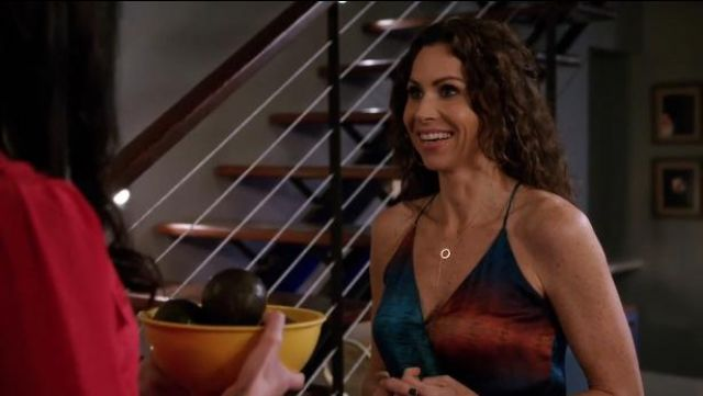 Rory Beca Blue Hess Drape Wrap Gown outfit worn by Fiona (Minnie Driver) in About a Boy (S01E12) (S01E12) - TV Show Outfits and Products