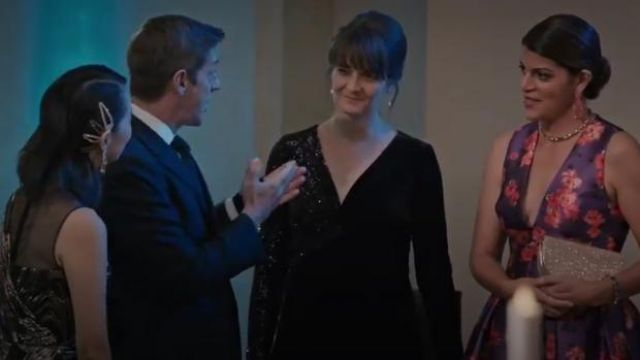 Sachin & Babi Brooke Floral Print V Neck Sleeveless Gown outfit worn by Linda Furey (Sheila Tapia) in Madam Secretary Season 6 Episode 6 - TV Show Outfits and Products