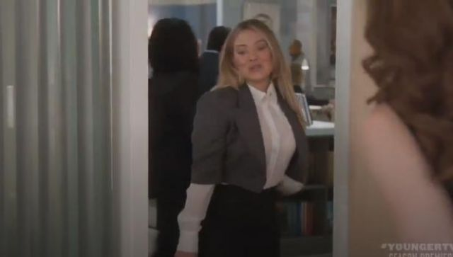 Saint Laurent Oversized Collar Sheer Silk Button-Down Blouse outfit worn by Kelsey Peters (Hilary Duff) in Younger (Season06 Episode01) - TV Show Outfits and Products
